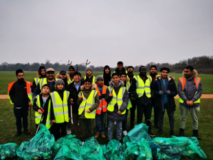 Image of AMYA Youth after their new years day clean up.