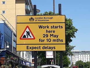 Feltham roadworks sign