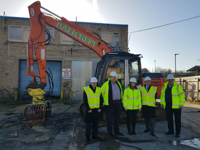 Ward councillors at the start of work on the Ballymore site in Brentford. L to R: Cllrs Mel Collins and Guy Lambert (Brentford); Cllrs Katherine Dunne, Theo Dennison and Steve Curran (Syon).