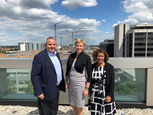 Image of Cllr Curran, Baroness Vere and Rachel Cerfontyne on the Hounslow House terrace.