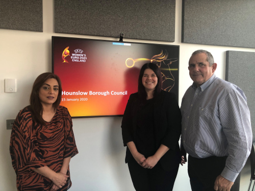Councillor Samia Chaudhary, Cabinet Member for Leisure Services with Bev Ward, Senior City Host Manager and Councillor Steve Curran, Leader of Hounslow Council.