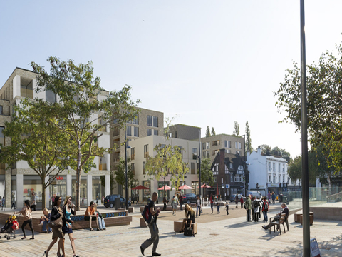 An artists's impression of Brentford High Street following regeneration plans.