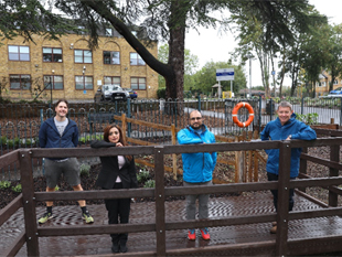 Cllr Samia Chaudhary Lead Member for Parks at Bridge House Pond