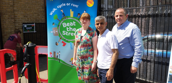 Image of Cllr Steve Curran, Cllr Katherine Dunne and Mayor of London, Sadiq Khan