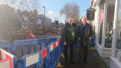 Image of Cllr Curran and Cllr Todd on site at Chiswick High Road.