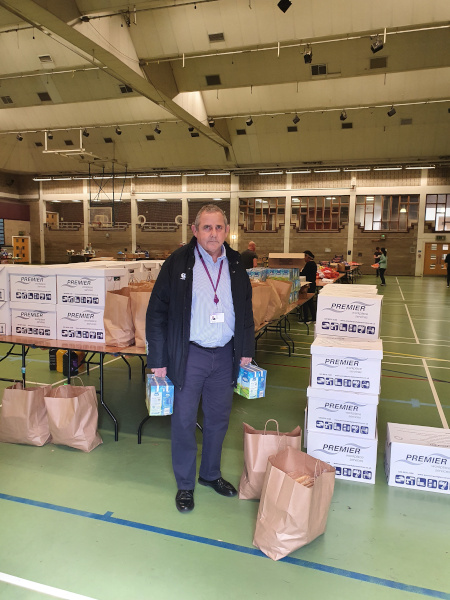 Image of Cllr Steve Curran ready for deliveries to Hounslow's most vulnerable residents and families.