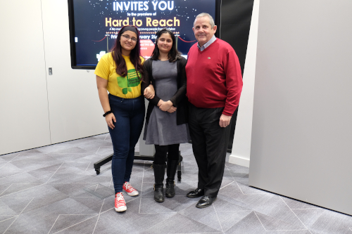 Image of Cllr Curran with stars of the Hard to Reach film Serena and Layba.