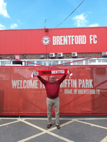 Image of Cllr Curran outside Griffin Park, Brentford.