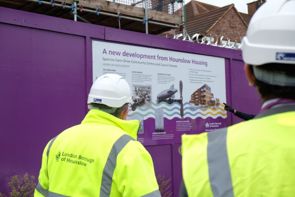 Image of Cllr Curran at the new Housing development at Sparrow Farm in Feltham.
