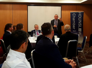 Cllr Curran speaking at the Business Breakfast at the Holiday Inn