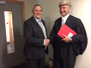 Image of Cllr Curran and  judge David Brock