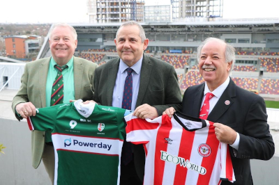 Image of Cllr Steve Curran with Mick Crossan, Chairman of London Irish Rugby Football Club and Cliff Crown, Chairman of Brentford FC.