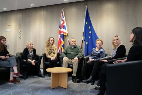 Cllr Steve Curran, sat with EU colleagues who work at Hounslow Council.
