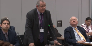 Image of Cllr Steve Curran, speaking at Borough Council.