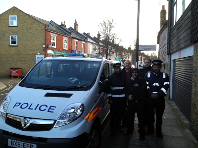 Image of Cllr Curran with LBH Police Team and Parking enforcement officers at Strand on the Green.