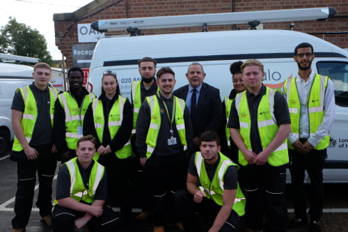 Image of the apprentices working with the COALO team at Ashmead Road Depot.