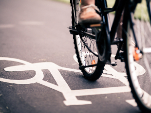 Image of a cyclist using a cycle lane.