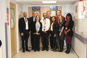 Image of Cllr Curran with the discharge team at West Middlesex University Hospital.