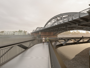 An artists' impression of the new pedestrian footbridge at Dukes Meadows.