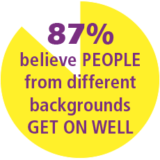 87% of residents believe people from different backgrounds get on well