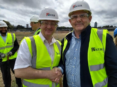 Image of Cllr Curran at the groundbreaking ceremony for the new leisure centre at Gunnersbury Park.