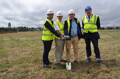 Image of Cllr Curran at the groundbreaking ceremony for the new leisure centre at Gunnersbury Park