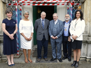 Image of HRH Duke of Gloucester in front of Boston Manor House