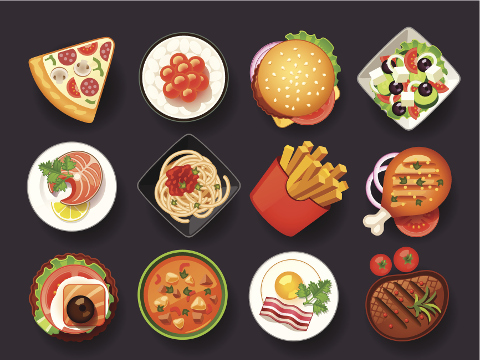 Image of different choices of food.