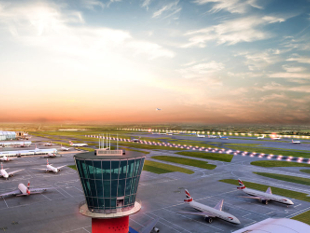 Image of the Air Traffic Control tower at Heathrow Airport.