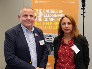 Image of Cllr Steve Curran, Leader of Hounslow Council and Deputy Leader, Lily Bath at the StopItBeforeItStarts homelessness campaign launch.