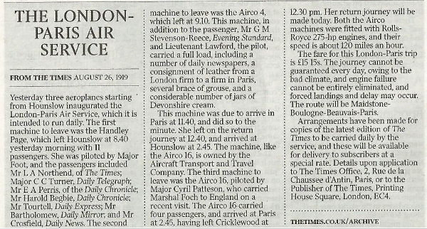 The Times Newspaper extract.