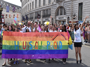Image of Hounslow representatives at the Pride parade in London.