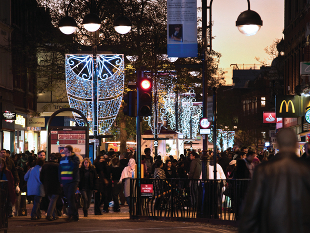 image of Christmas lights in Hounslow High Street.