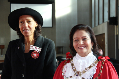 Image of Maria Pedro and former mayor of Hounslow Ajmer Grewal