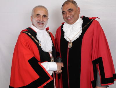 Image of the new Mayor of Hounslow, Tony Louki (Osterley and Spring Grove) and the Deputy Mayor of Hounslow, Raghwinder Siddhu (Bedfont)