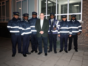 Councillor Steve Curran with Serco parking wardens.