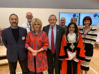 Image of Cllr Steve Curran, the Mayor of Hounslow, Joanna Lumley OBE and various London Borough of Hounslow officers.