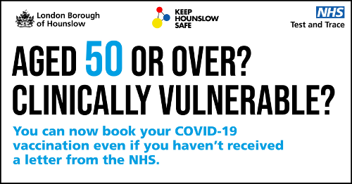 "Image reads: ""Aged 50 or Over? Clinically vulnerable? Book a vaccine today!"