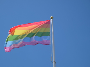Image of the Rainbow flag flying.