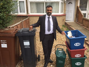 Cllr Mann and recycling  boxes