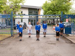 Pupils of the Blue School, Isleworth who will return to school next week.