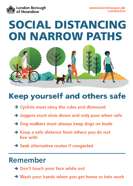 Image of a social distancing poster for narrow towpaths.