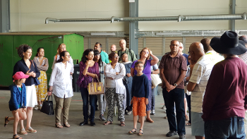 Image of families attending the Southall Lane Materials Handling Facility Open Day