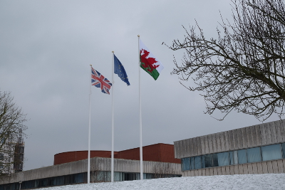 Image of the Welsh Flag flying at the Civic Centre.