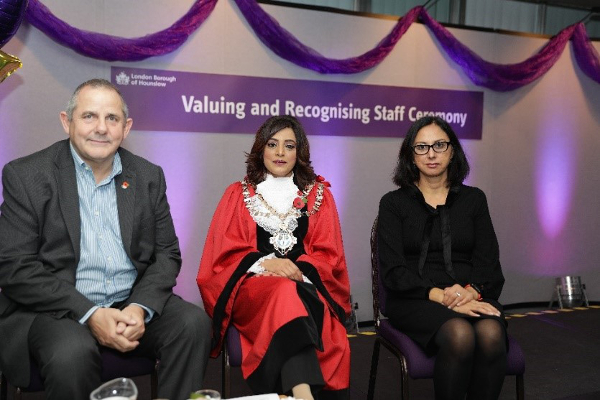 Cllr Steve Curran, Leader of the Council, Cllr Samia Chaudhary, Mayor of Hounslow, and Cllr Lily Bath, Deputy Leader of the Council.