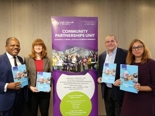 Pictured: Peter Matthew, Executive Director of Housing, Planning & Communities, Cllr Katherine Dunne, Lead Member for Communities and Workforce, Cllr Steve Curran, Leader of Hounslow Council, Cllr Lily Bath, Deputy Leader of Hounslow Council.
