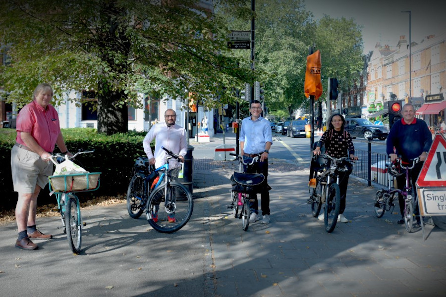 Image of councillors with Will Norman, the Mayor of London's Walking and Cycling Commissioner.