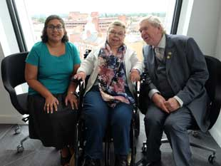 Image of Cllr Mel Collins of Hounslow Council, with two of the participants in AccessAble's workshop: Rina Shah (left) and Dawn Cowley