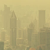 badly polluted smoggy city scene