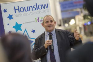 Image of Cllr Curran speaking at the Hounslow Business Awards launch event